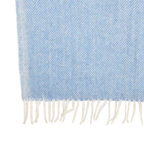 New Arrival- 2 Piece Set - Herringbone Pattern Wool Throw Blanket with Fringe (Size 135x170cm) and Cushion Cover with Zipper Closure and Flap Over (43x43cm) - Blue