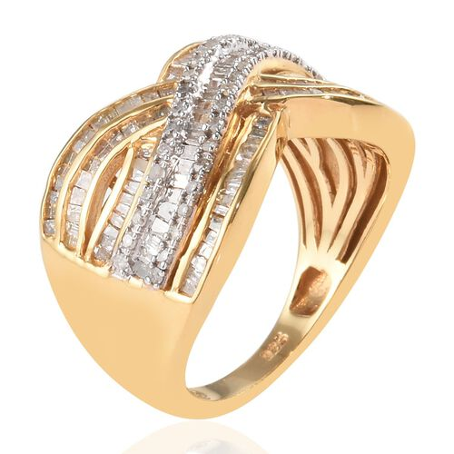Diamond (Rnd and Bgt) Crossover Ring in 14K Gold Overlay Sterling Silver 1.00 Ct, Silver wt 5.60 Gms