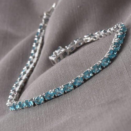 Blue Apatite Tennis Bracelet (Size 7.5) in Platinum Overlay Sterling Silver 8.00 Ct, Silver wt. 8.50 Gms