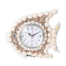 Hand Crafted Natural multi colour Shell Decorated Wall Clock (Size 23x20 Cm) - Fish