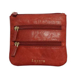 Assots London LAURA Soft Small Zip Top Leather Coin Purse (Size 11x10cm) - Red