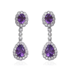 Amethyst (Pear and Ovl), Natural White Cambodian Zircon Earrings (with Push Back) in Rhodium Overlay