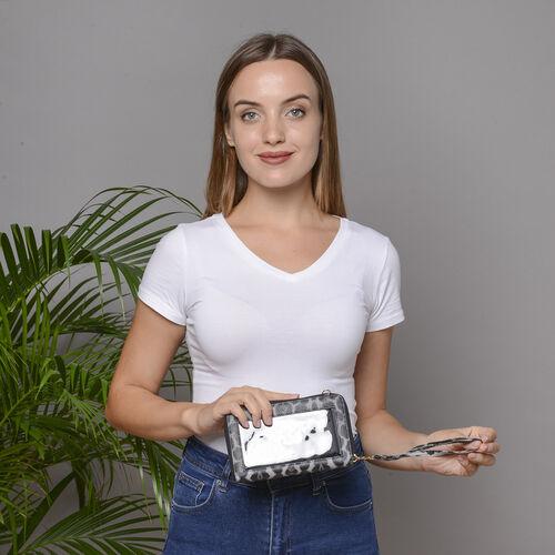 2 Piece Set - Grey and Black Leopard Print RFID Crossbody Bag and 4000mAh Wireless Power Bank
