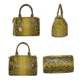 LA MAREY 100% Genuine Python Leather Tote Bag with Adjustable Shoulder Strap (Size 29x24.5x15cm) - Yellow