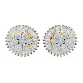 9K Yellow Gold SGL Certified Diamond (Rnd) (I3/G-H) Stud Earrings (with Push Back) 1.000 Ct.