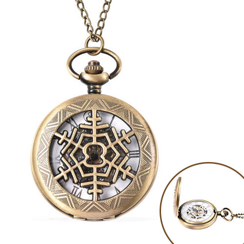 GENOA Automatic Mechanical Hollow-Out Snowflake Pattern Pocket Watch with Chain in Antique Bronze To