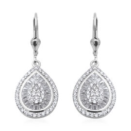 ELANZA  AAA Simulated Diamond Lever Back Earrings in Rhodium Overlay Sterling Silver