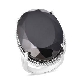 50 Carat Natural Boi Ploi Black Spinel Solitaire Ring in Rhodium Plated Silver 9.11 grams