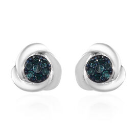 Blue Diamond Stud Earrings (with Push Back) in Platinum Overlay Sterling Silver