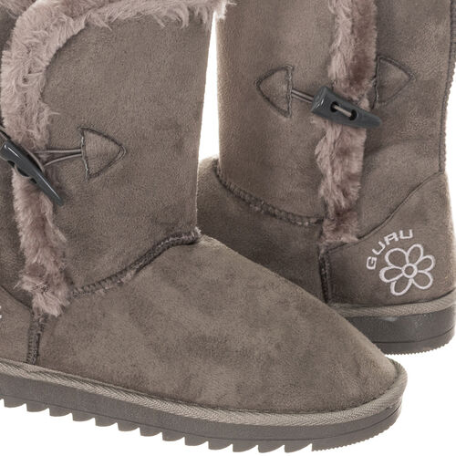 GURU Womens Winter Fluffy Ankle Boots with Button Closure (Size 6) - Grey
