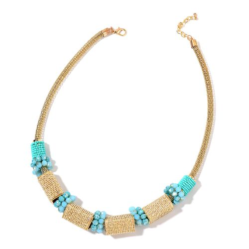 Handcrafted Blue and Multi Colour Beads Necklace (Size 22 with 2 inch Extender) in Yellow Gold Tone
