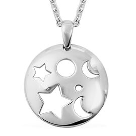 RACHEL GALLEY Rhodium Overlay Sterling Silver Moon and Star Pendant with Chain (Size 20), Silver wt