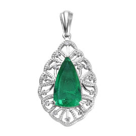 GP 5.93 Ct Emeraldine Triplet Quartz,and Multi Gemstone Drop Pendant in Platinum Plated Silver