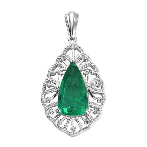 GP 5.93 Ct Emeraldine Triplet Quartz,and Multi Gemstone Drop Pendant in Platinum Plated Silver