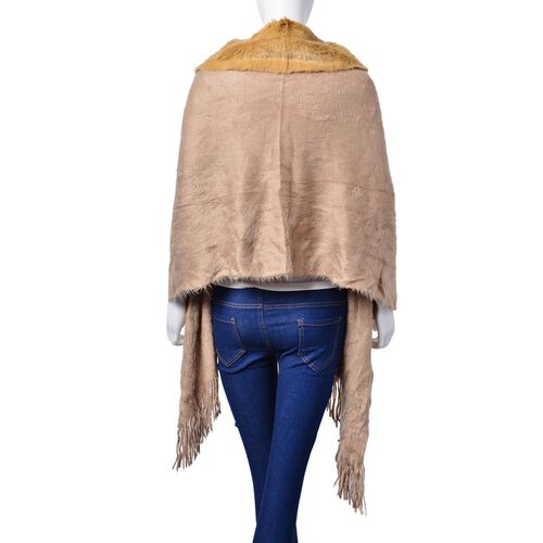 Winter Special - Khaki Colour Poncho with 6 Pom Pom and Faux Fur Collar (Size 160x55 Cm)