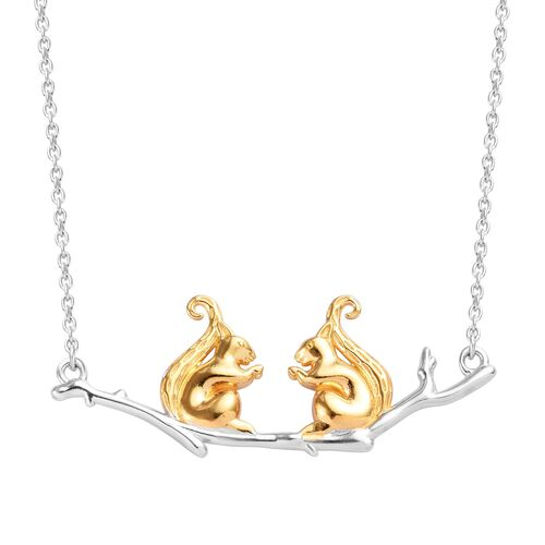 Platinum and Yellow Gold Overlay Sterling Silver Necklace (Size 18), Silver wt 6.70 Gms