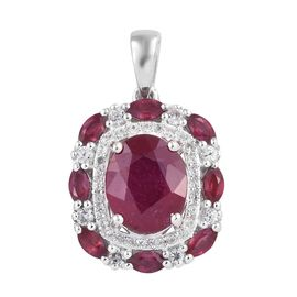 African Ruby (Ovl 10x8 mm), Natural Cambodian Zircon Pendant in Platinum Overlay Sterling Silver 5.0