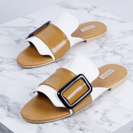 Inyati - NATALIE White and Tan Gloss Finish Sandals with Statement Buckle