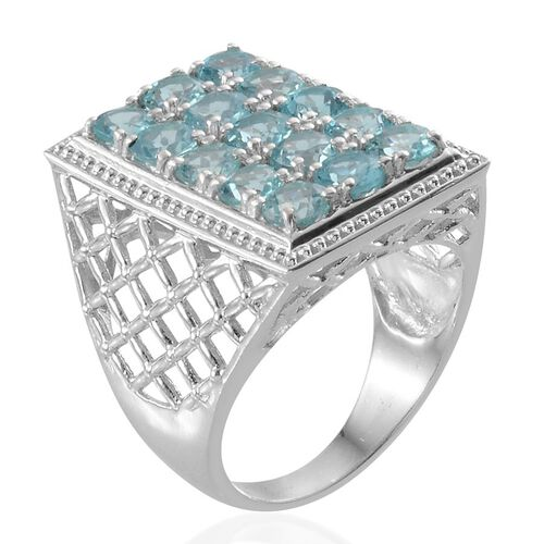 Paraibe Apatite (Rnd) Ring in Platinum Overlay Sterling Silver 4.000 Ct.