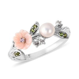 Multi Gem Stone Sterling Silver Ring  1.260  Ct.
