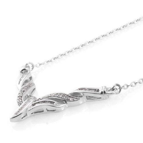 Exclusive Edition Designer Inspired Diamond (Bgt) Necklace (Size 18) in Platinum Overlay Sterling Silver 0.250 Ct.