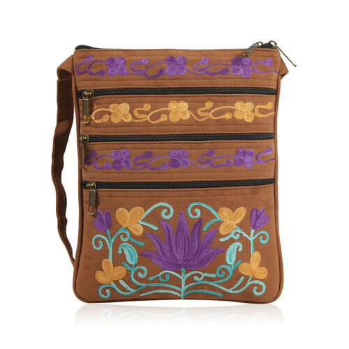 Hand Embroidered Brown and Multi Colour Floral and Leaves Pattern Sling Bag