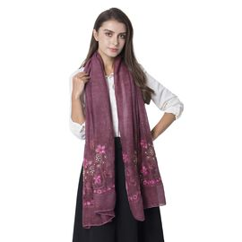 Designer Inspired- Wine Colour Rose Pattern Shawl with Golden Colour Sequin (Size 182x68.5 Cm)