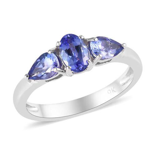 9K White Gold AA Tanzanite (Ovl and Pear) Trilogy Ring 0.95 Ct.