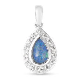 Australian Boulder Opal and Natural Cambodian Zircon Pendant in Rhodium Overlay Sterling Silver 1.16