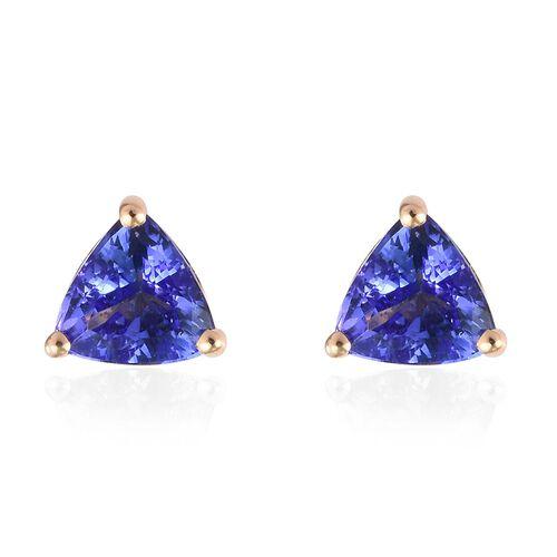 ILIANA 1 Carat AAA Tanzanite Stud Earrings in 18K Gold