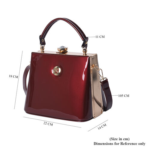 BOUTIQUE COLLECTION Burgundy Colour Tote Bag with Detachable and Adjustable Shoulder Strap (Size 22x14x18 Cm)