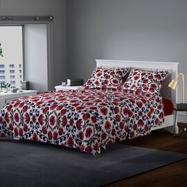 3 Piece Set - Microfiber Floral Printed Quilt (240x260Cm) and 2 Pillow Case (50x70+5Cm) - Red and Multi