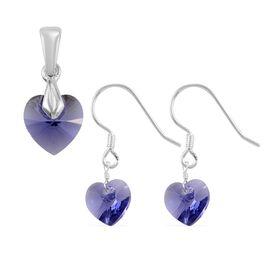 2 Piece Set - J Francis Crystal from Swarovski Tanzanite Crystal Heart Hook Earrings and Heart Penda
