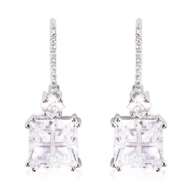 ELANZA Simulated Diamond Earrings in Platinum Overlay Sterling Silver 7.25 Ct.