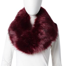 Wine Colour Faux Fur Scarf (Size 90x14 Cm)