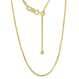 Adjustable Spiga Slider Chain in 14K Gold Plated Sterling Silver 24 Inch