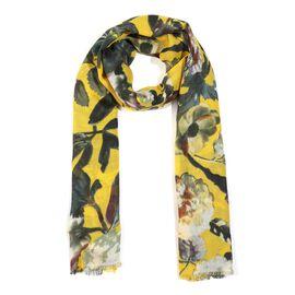 100% Merino Wool Floral Pattern Scarf (Size 70x180 Cm) - Yellow