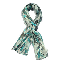 100% Mulberry Silk Blue, Black and Multi Colour Handscreen Printed Scarf (Size 175X100 Cm)