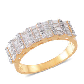 ELANZA  Simulated White Diamond (Bgt) Ring in 14K Gold Overlay Sterling Silver, Silver wt 3.85 Gms.