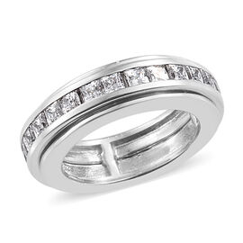 J Francis - Platinum Overlay Sterling Silver (Princess Cut) Spinner Ring Made With SWAROVSKI ZIRCONIA, Silver wt 9.01 Gms.