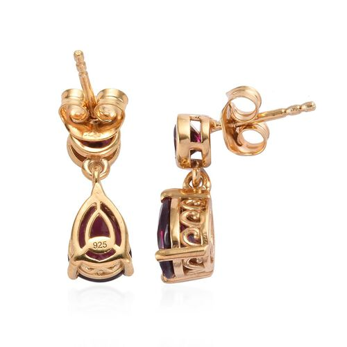 Rhodolite Garnet (Pear and Rnd) Earrings (with Push Back) in 14K Gold Overlay Sterling Silver 3.00 Ct.
