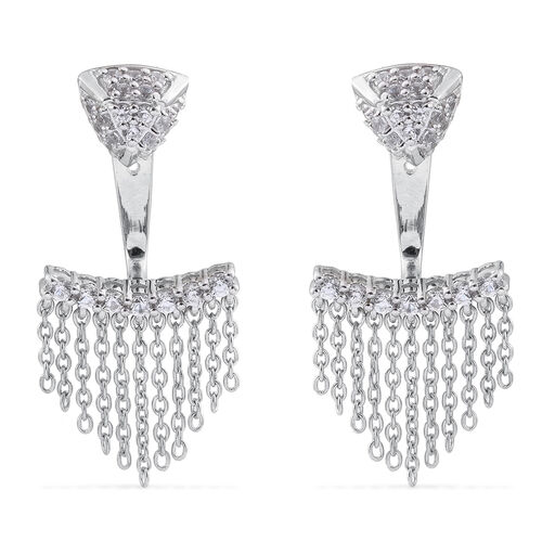 JCK Vegas Collection Natural Cambodian Zircon Earrings (with Push Back) in Platinum Overlay Sterling Silver 60.634 Ct. Silver wt 6.00 Gms.