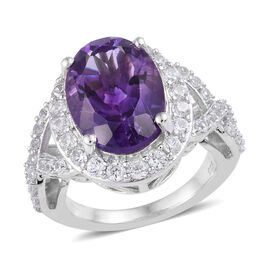 7.5 Ct Moroccan Amethyst and Natural Cambodian Zircon Halo Ring in Platinum Plated Sterling Silver