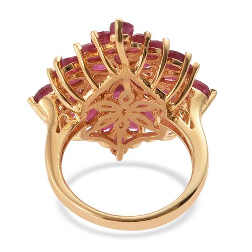 African Ruby (Mrq) Cluster Ring in 14K Gold Overlay Sterling Silver 8.750 Ct. Silver wt. 5.14 Gms.