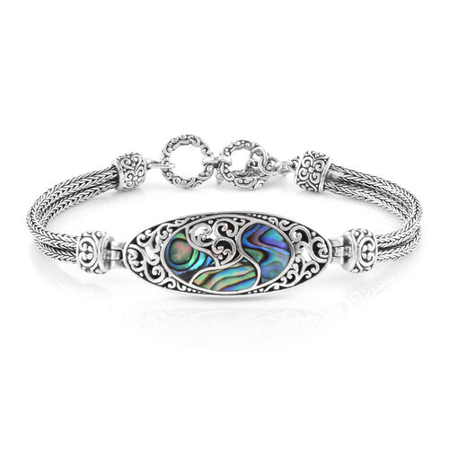 Royal Bali Collection Abalone Shell Filigree Bracelet (Size 7.50 with Half inch Extender) in Sterling Silver, Silver wt 16.92 Gms.