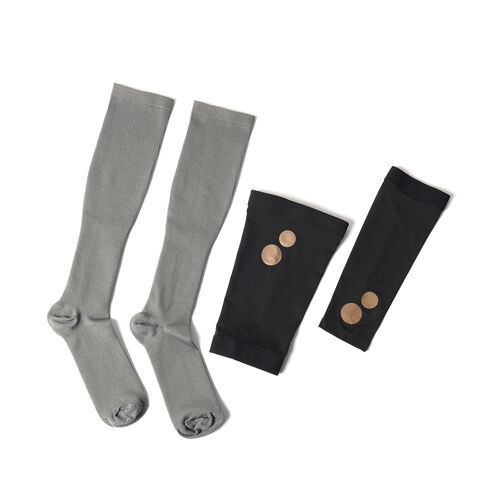 Set of 3 - Copper Fit Socks (Size L/XL), Copper Knee Sleeve (Size L), Copper Elbow Sleeve (Size L) -
