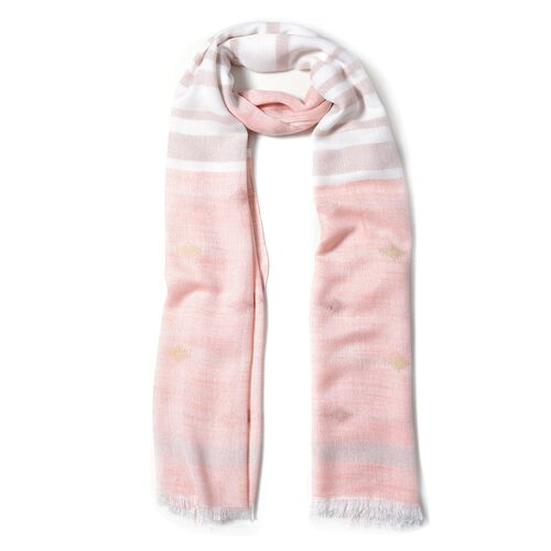Pink and White Colour Scarf with Strip and Rhombus Pattern (Size 180x70 Cm)