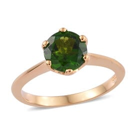 Russian Diopside (1.50 Ct) 14K Gold Overlay Sterling Silver Ring  1.250  Ct.