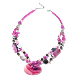 Fuschia Agate, Simulated Fuchsia, Simulated Pink Sapphire, Garnet, Black Shell, Fuchsia Keshi Pearl and Multi colour Beads Necklace (Size 24) in Silver Bond.