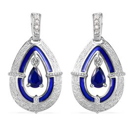 Tanzanian Blue Spinel and Natural Cambodian Zircon Enamelled Earrings (with Push Back) in Platinum O